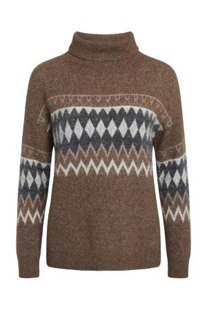 Strik sweater dame med rullekrave